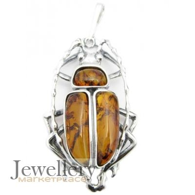 Large sterling silver beetle insect pendant with baltic amber large sterling silver beetle insect pendant with baltic amber mozeypictures Gallery