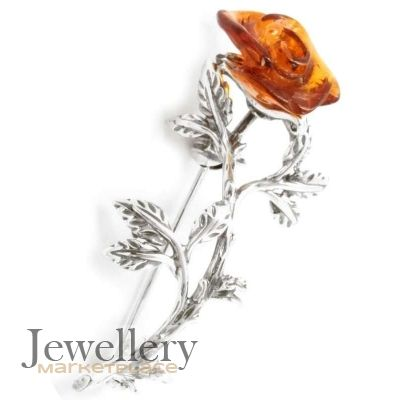 2f83244f863 Sterling Silver Rose Brooch With Amber | Jewellery Marketplace