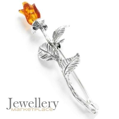 aa91fd5d7e9 Sterling Silver Rose Brooch with Amber | Jewellery Marketplace