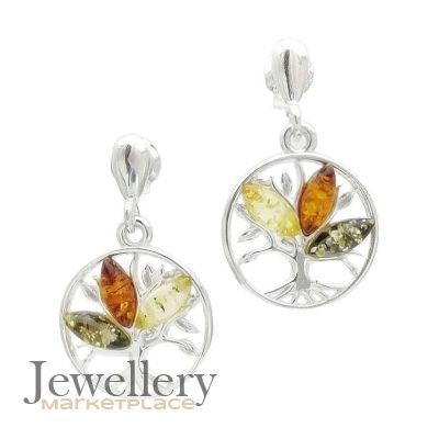 Silver Tree of Life Earrings with Amber Multi | Jewellery Marketplace