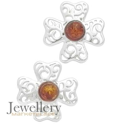 0a7b5b49c0846 Celtic Clover Earrings Studs with Amber | Jewellery Marketplace