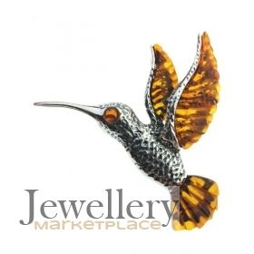 Amber etc Large Couture Silver Hummingbird Pendant