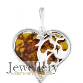 Amber etc Large Silver Heart Pendant with Baltic Amber